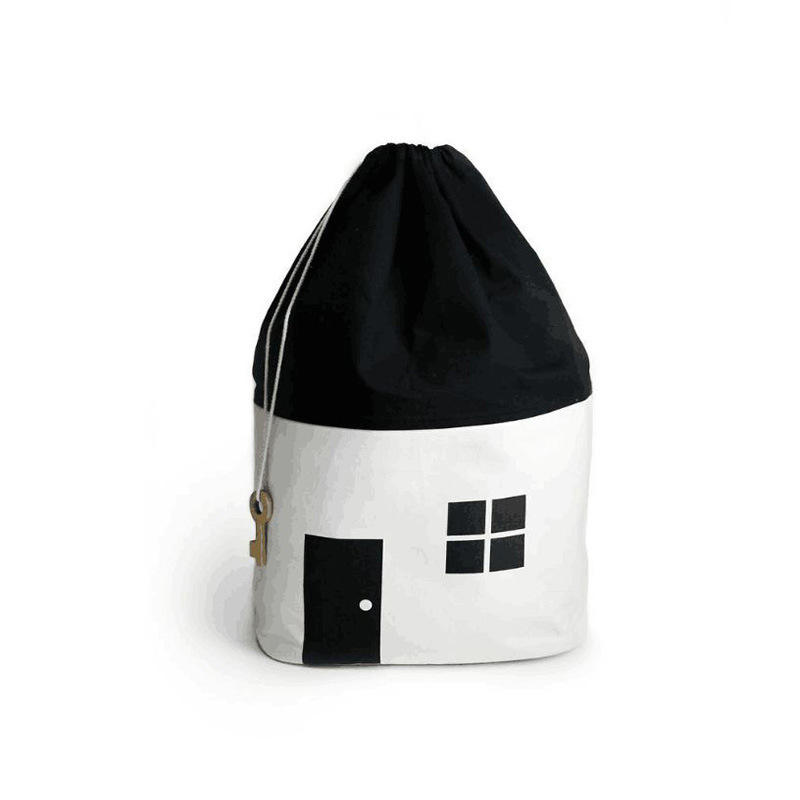 Ins Hot Style 2018 New House Collection Bag Baby Cotton Canvas Sash Mouth Black And White Toys Storage Bag