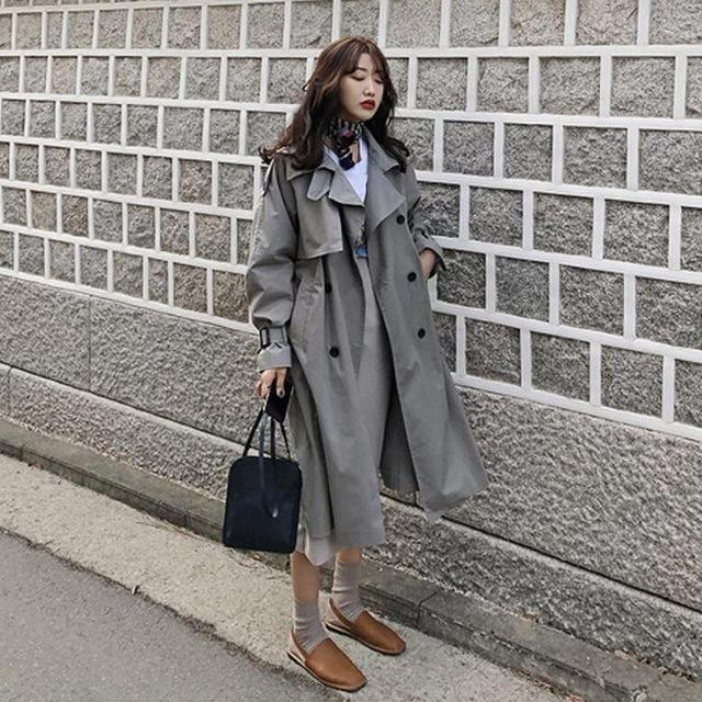 Women khaki long trench with belt replacement custom made trench coats
