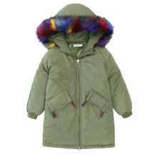DR1810ZZTG001 2018 High Quality Colorful Strip Girl's  Hooded Winter Coats