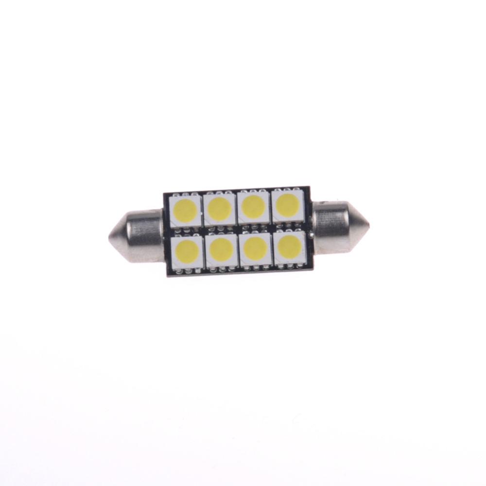 "White Car 1.72/"" 42mm 8 Led 3528 SMD Dome Festoon Lights Lamps DC 12V Wholesale"