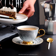 New Design Marble white porcelain Coffee Gold line With Handle Personalized Tea Cups and Saucers