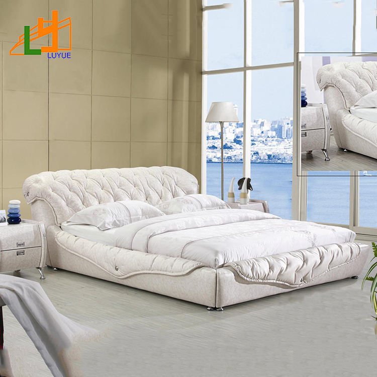 fashion king size bedroom furniture soft snow white modern leather bed for bedroom