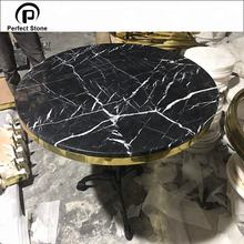 Natural stone black marble coffee round table for sale