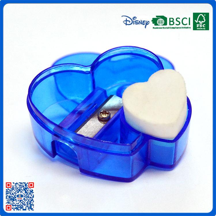 Único en forma de corazón de plástico de un solo orificio sacapuntas con el borrador