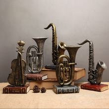 Antique Statue Saxophone Guitar Trumpet Sculpture Musical Instruments Orchestra Finishings Resin Sculpture Figurine Craft