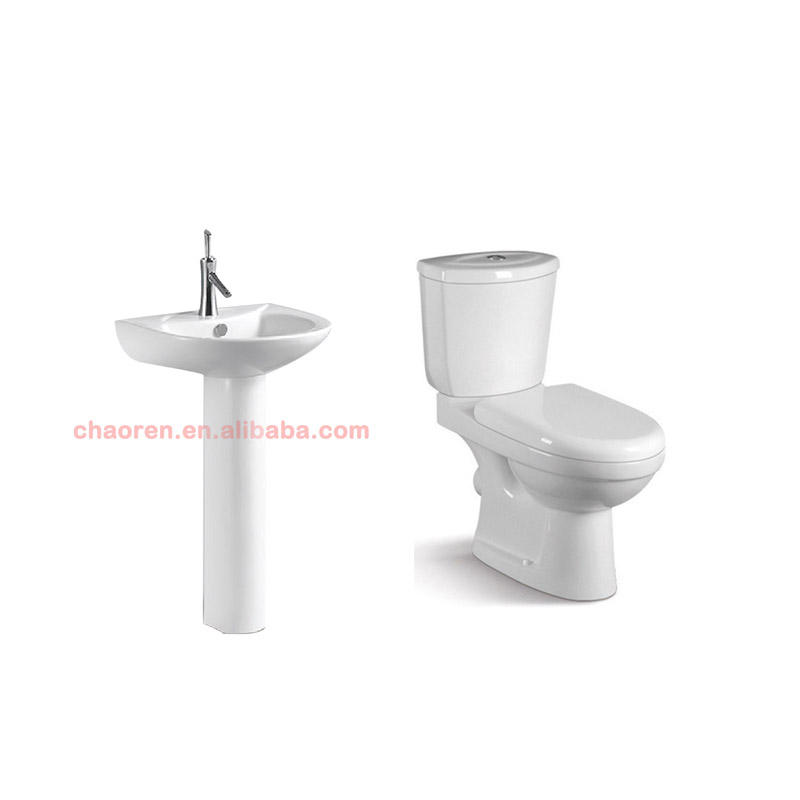 Chinese Ceramic Bathroom Sanitary Ware Tolet / Wash Down Two Piece Toilet