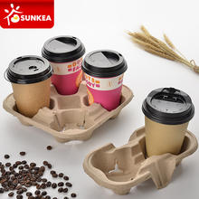 Pulp mould paper coffee cup holder for 4 cups