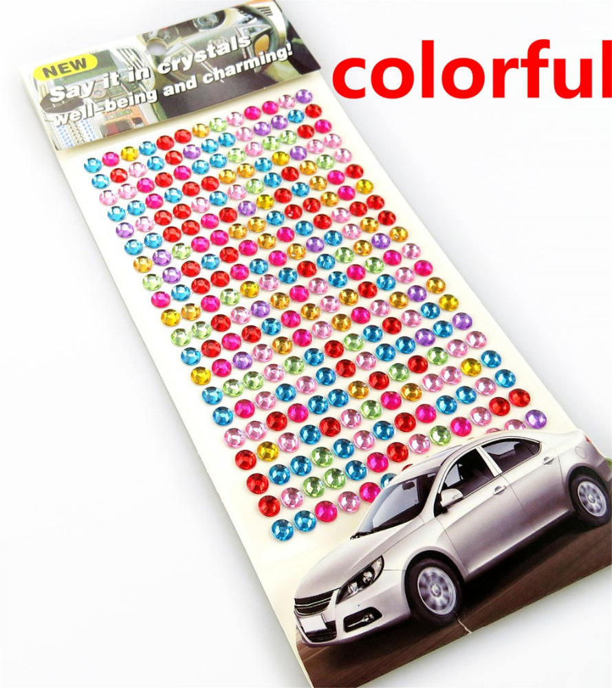 Mobil Sticker colorful Diy Decal Ponsel Art Kristal Berlian Bling Berlian Imitasi Diri Perekat