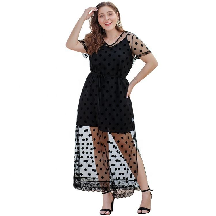 Custom Women Clothes Long Sheer Sleeve Fit Wave Point Plus Size Lace Dress
