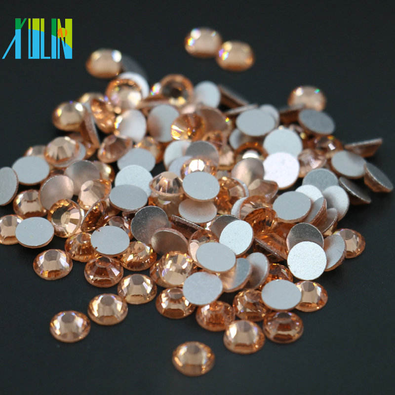 XULIN China Factory Wholesale All Size Flat Back Non Hot Fix Crystal Rhinestone for Nail Art, MS133 Lt.Peach Color