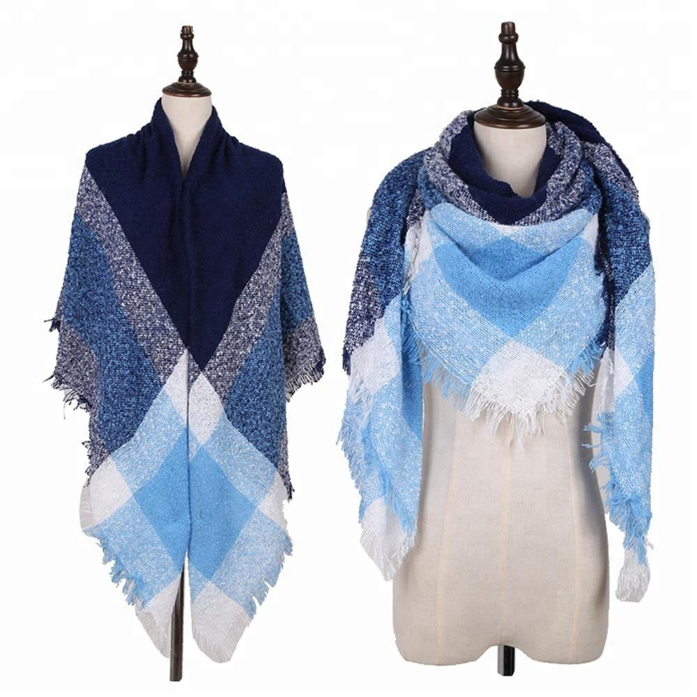 Fashion New Stylish Multi Color Custom Casual Loop Yarn Ladies Winter Knitted Square Scarf