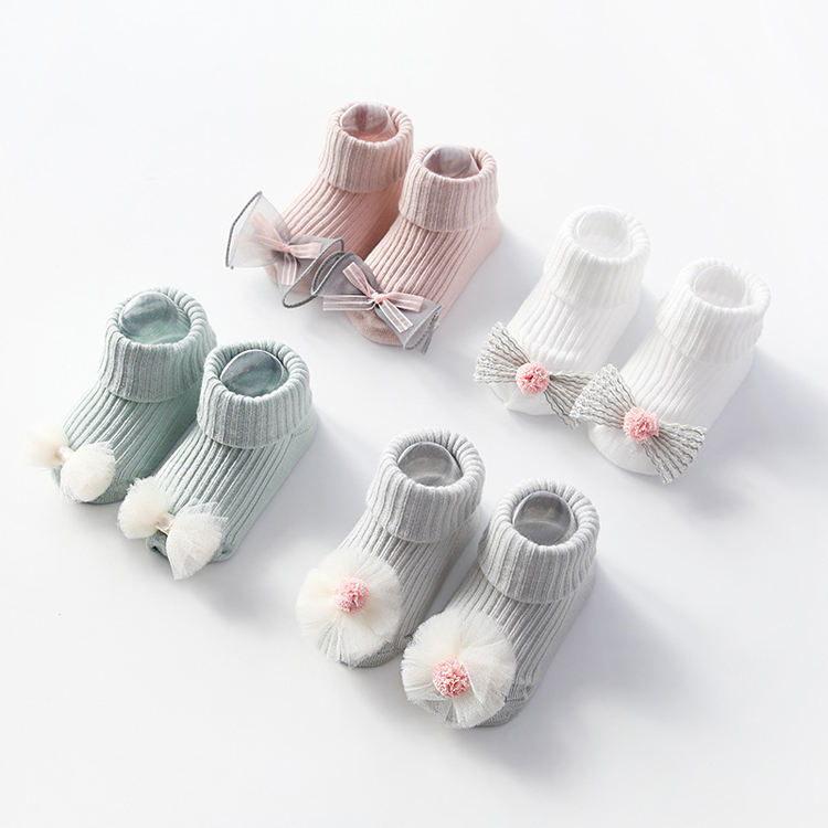 2019 Wholesale 3D Bow Cotton Seamless Baby Anti Slip Socks Cute Ribbed Newborn Baby Non Slip Grip Socks With Bow