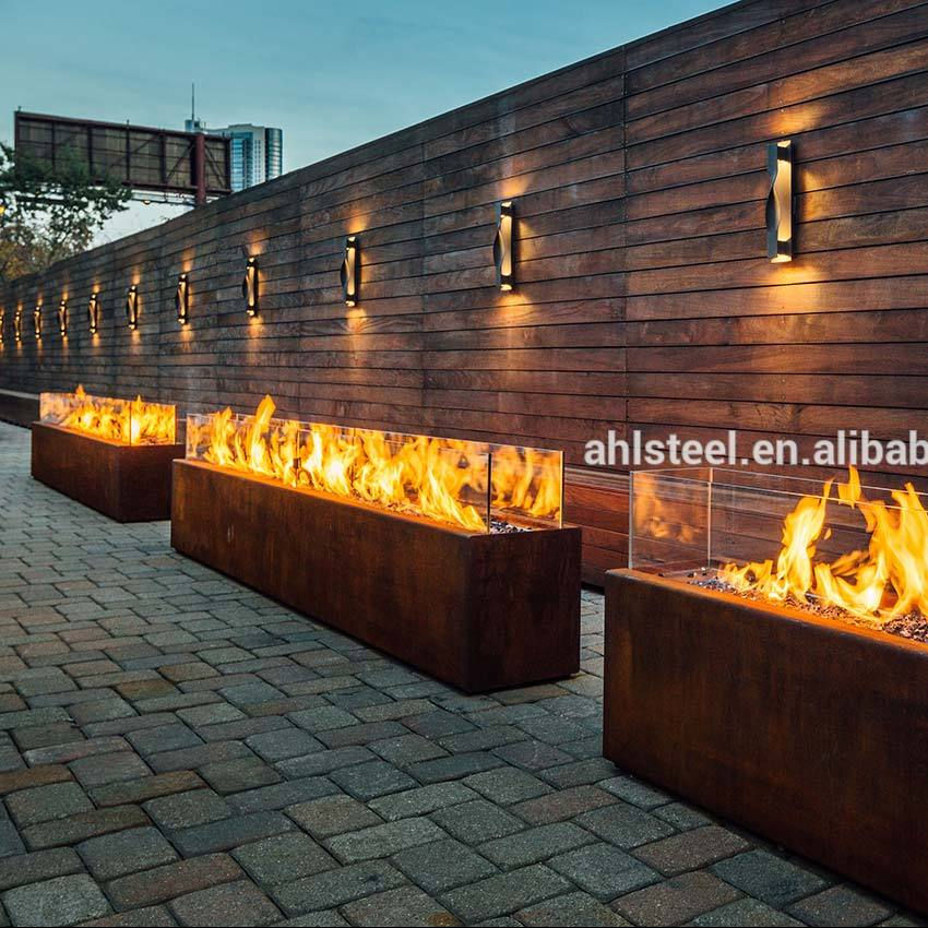 Large square Corten steel metal outdoor gas fire pit