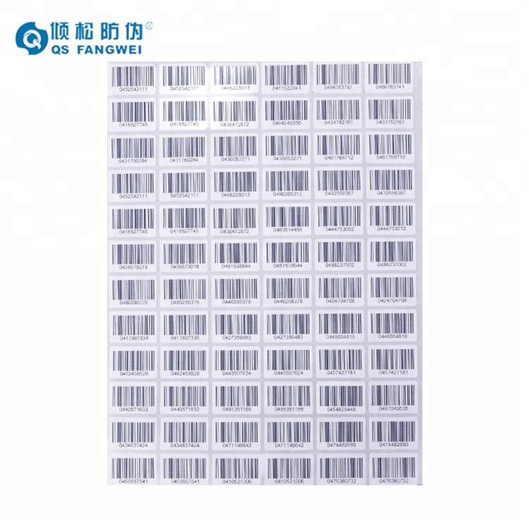 Custom self adhesive barcode label sticker printing,a4 paper barcode sticker,barcode label