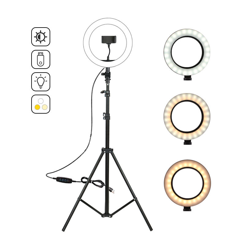 3200-5500k Stand Tripod 10 Inch LED Ring Light For Live Broadcasr Video Phoot Shooting
