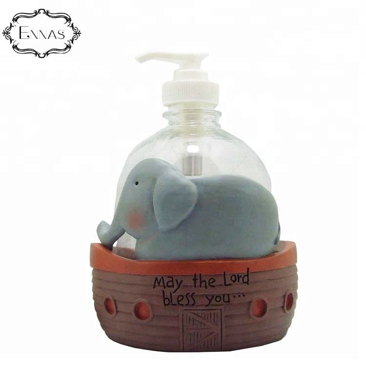 Resin elephant and boat statue 2019 new creative 3D kawaii crafts ornaments
