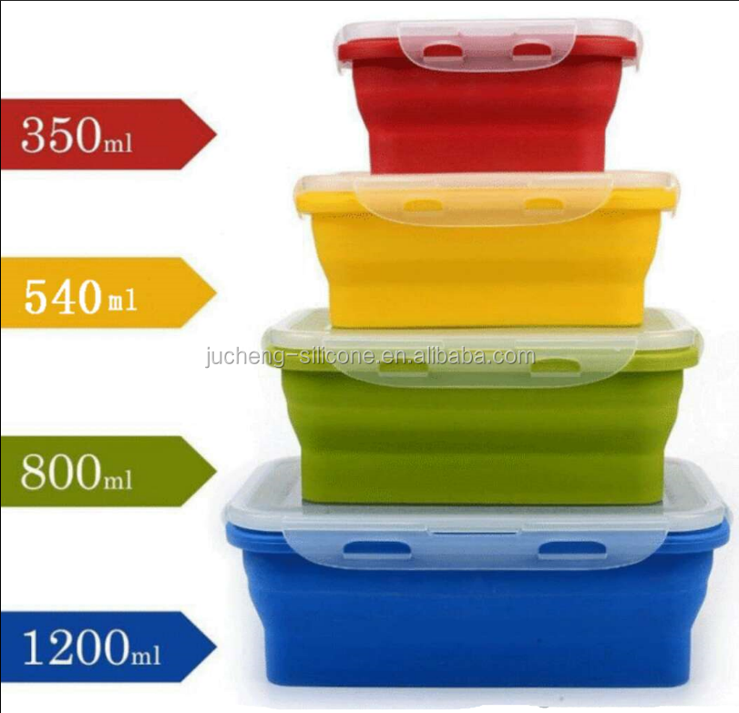 Eco-Friendly Colorful Square Silicone Folding Lunch Box