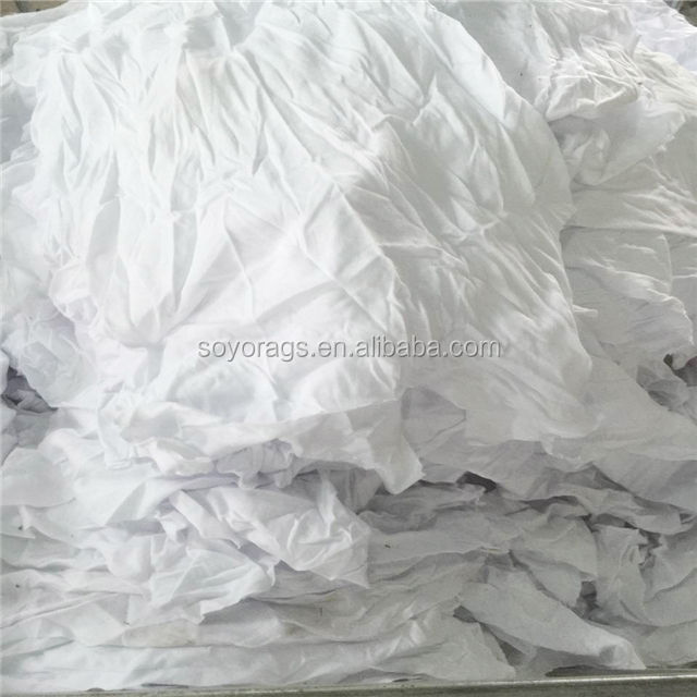 recycled white bleached t-shirt wipers hot selling 100 cotton rags for industrial