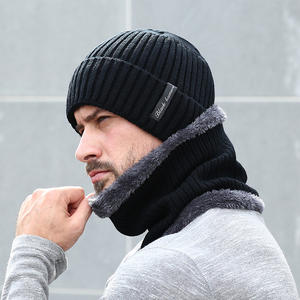 Winter Beanie Men Scarf Set Knitted Hat Caps Mask Bonnet Baggy Warm Hats For Men Fleece Lined Thick Skullies Beanies