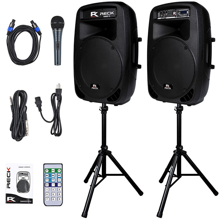 Portable 15-Inch 2-Way powered pa speaker system hifi audio system ceiling combo speaker aktiv set