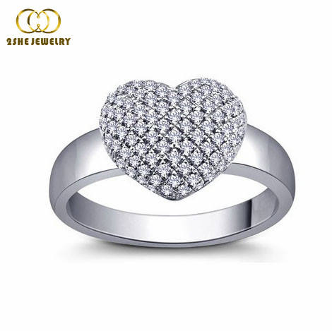 Valentines Heart shaped brass micro pave rings