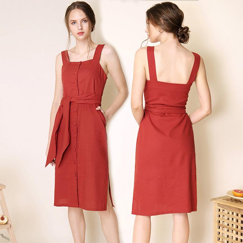 Summer button up tie belt dress women apparel factory