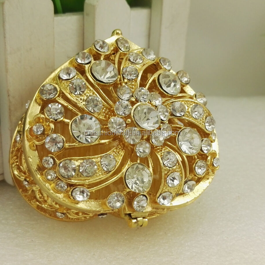 Golden heart shape bejewelled enamel wedding gift box trinket box