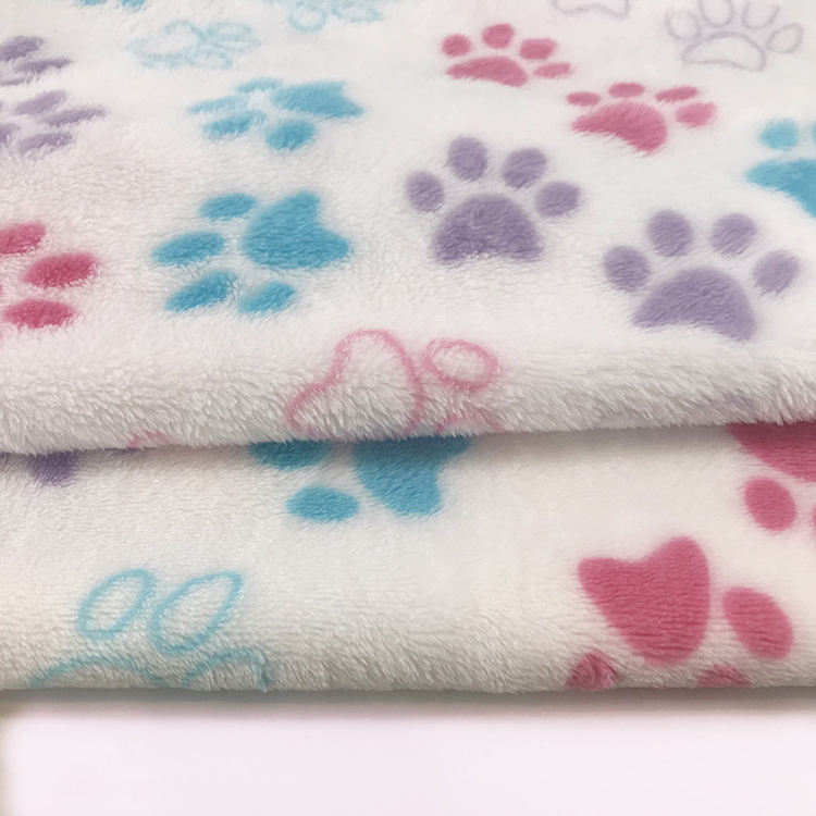 2 Colours Dog Cat Per Metre Paw Printed Sherpa Fleece Fabric Stoffe
