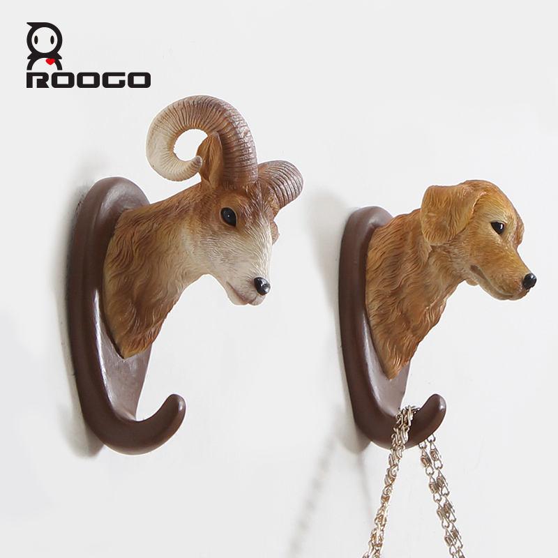 Roogo resin 3D home decor animal head wall hook
