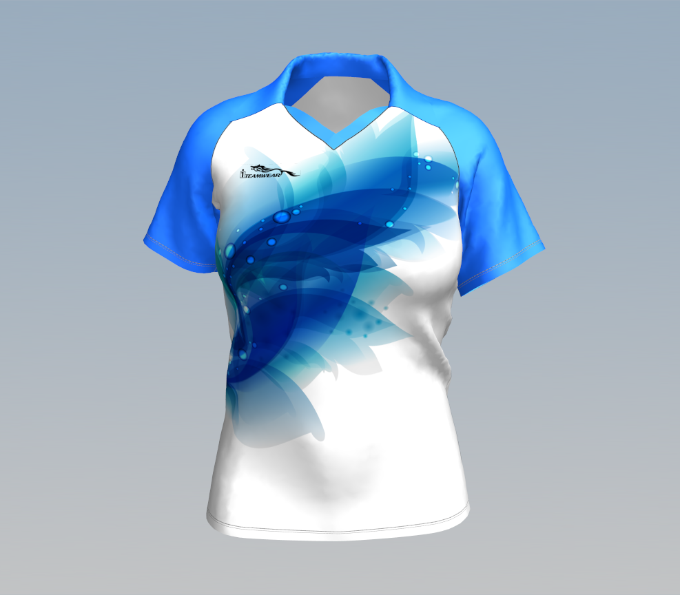 100%polyester full sublimation women T-shirt in double collar