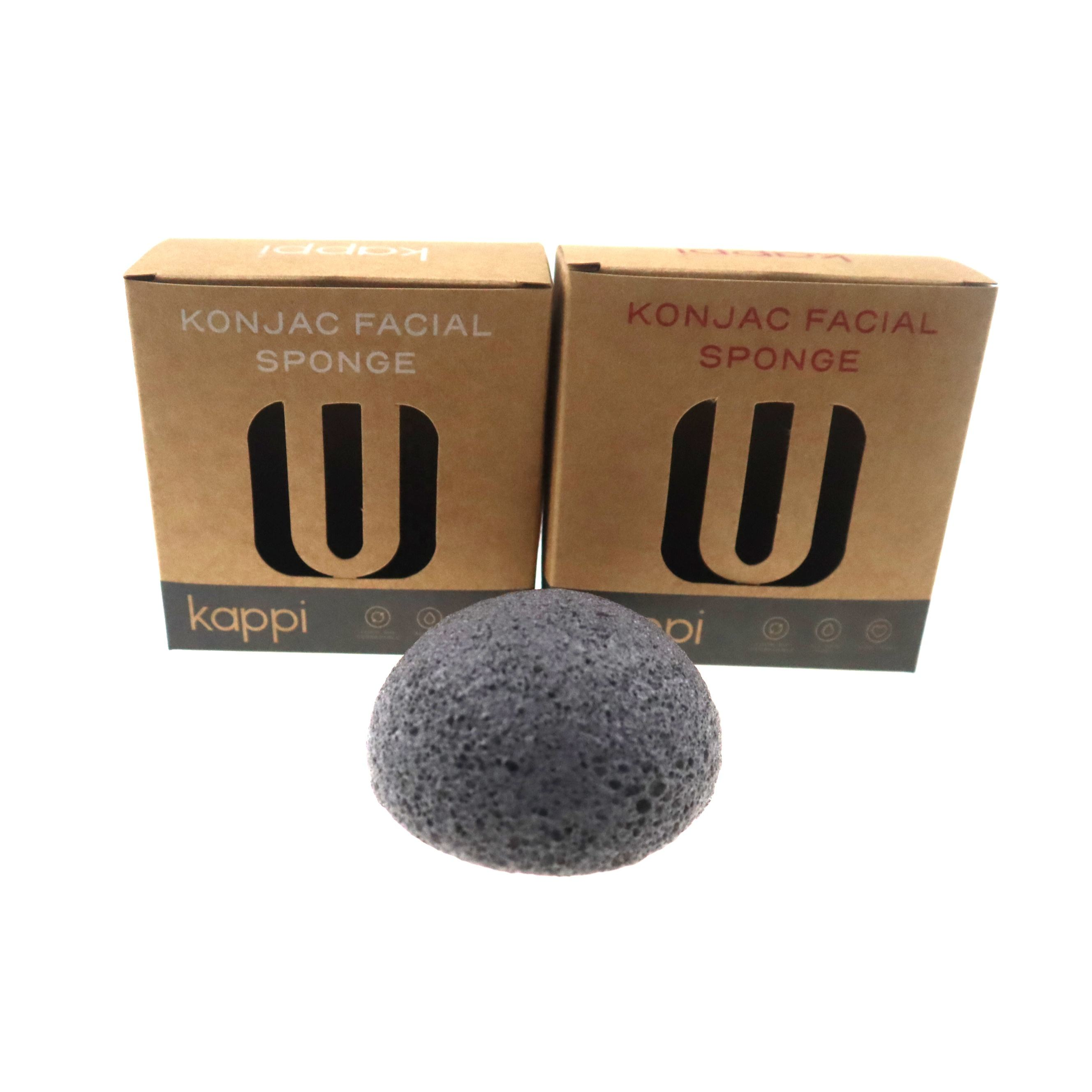 Wholesale 100% natural makeup charcoal konjac sponge cosmetic sponge puff