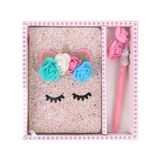 Promotional unicorn hardcover glitter print paper Notebook gift set with light pen