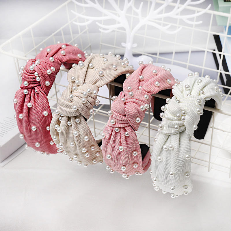 LRTOU Wholesale Hair Accessories Girls Plain Fabric Knot Plastic Headband Custom Pearl Hair Bands For Women