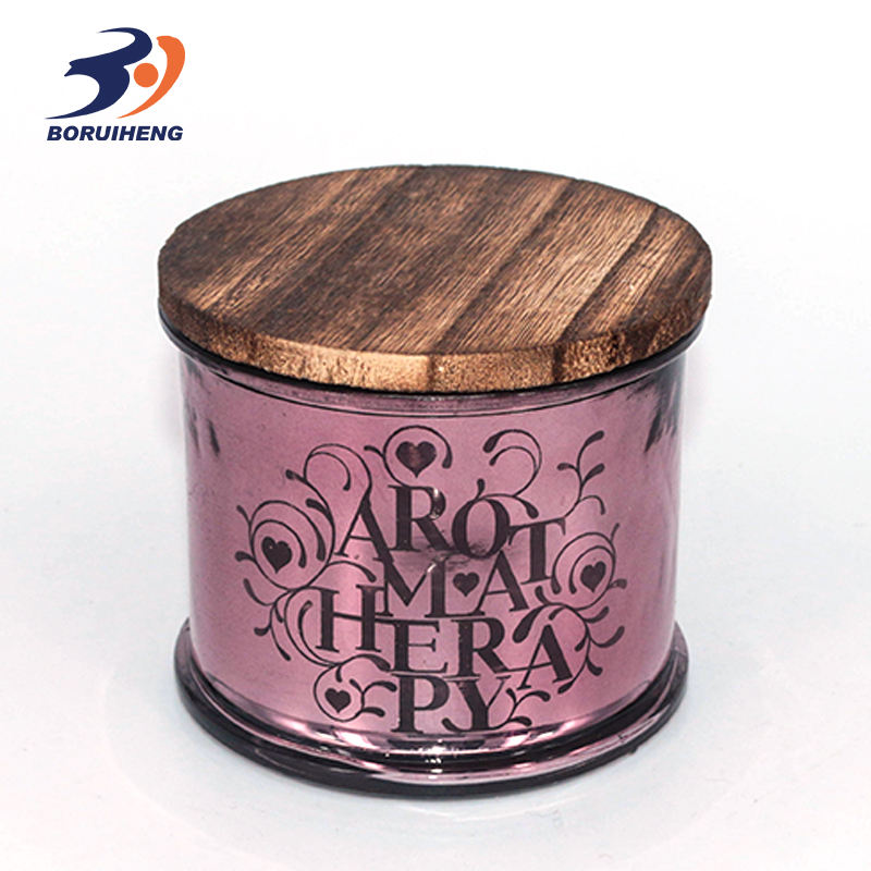 New pattern color glass candle holder with wooden lid for home