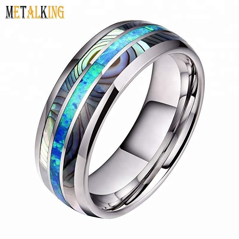 8mm Mens Tungsten Carbide Ring Opal and Abalone Shell Inlay Wedding Band High Polished