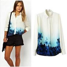 Instyles SUMMER TURN DOWN COLLAR LADY T SHIRT , BLUE FLOWERS LONG SLEEVE BLOUSE best clothing Clothing