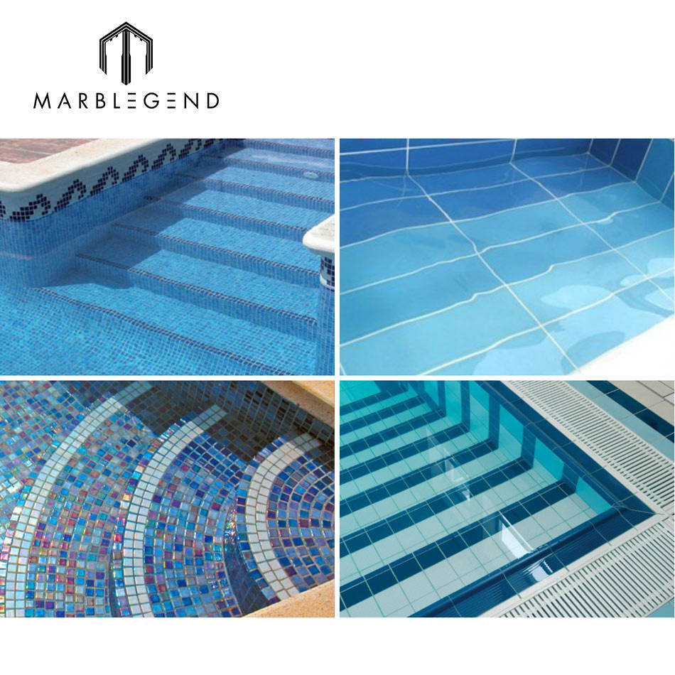 New Design Wall Floor Blue Art Glass Mosaic Tiles For Swimming Pool