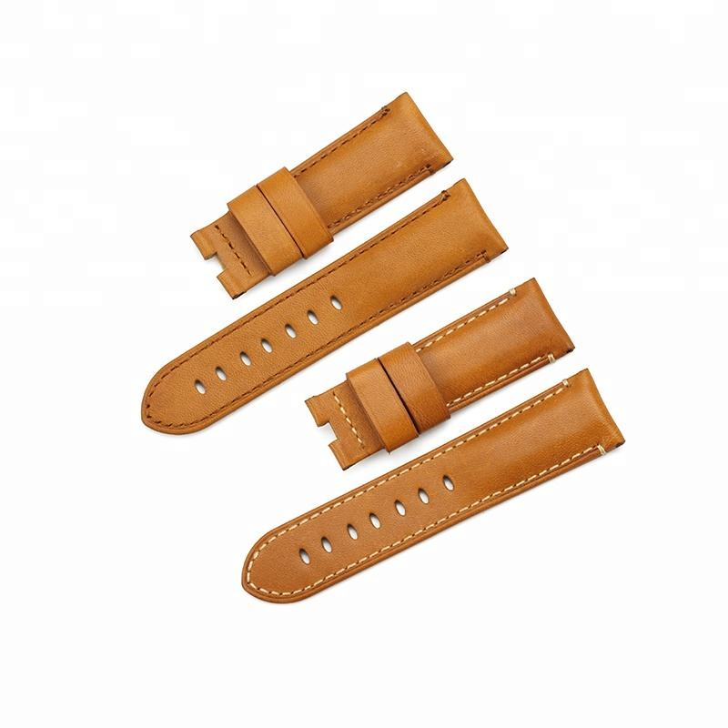 24 mm Brown Geuinie Handmade Leather for Panerial Watch Strap