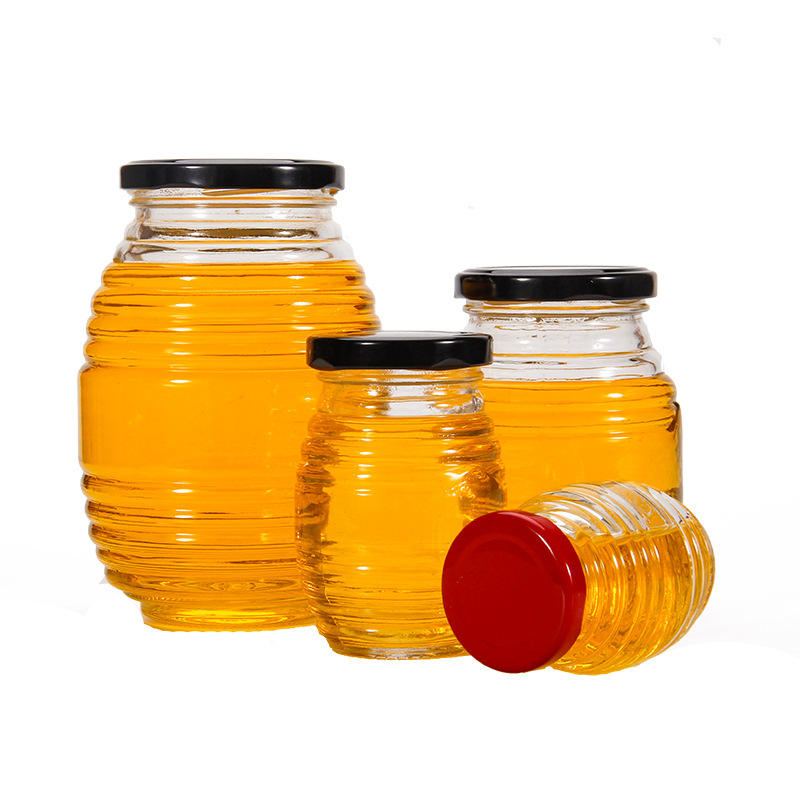 100ml 180ml 380ml 730ml threaded bee shape honey glass jar with screw lid, fancy round thread shape glass bottle jar