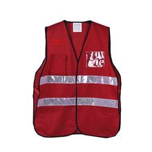 red safety working tool vest with many pockets