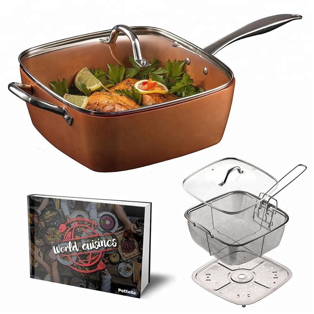 5 Piece Induction Non-Stick Square Copper covered d Sauce Pan Set with Lid