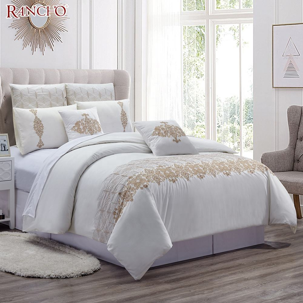 New design 100 % cotton home embroidery winter quilted bed sheet bedding set queen size