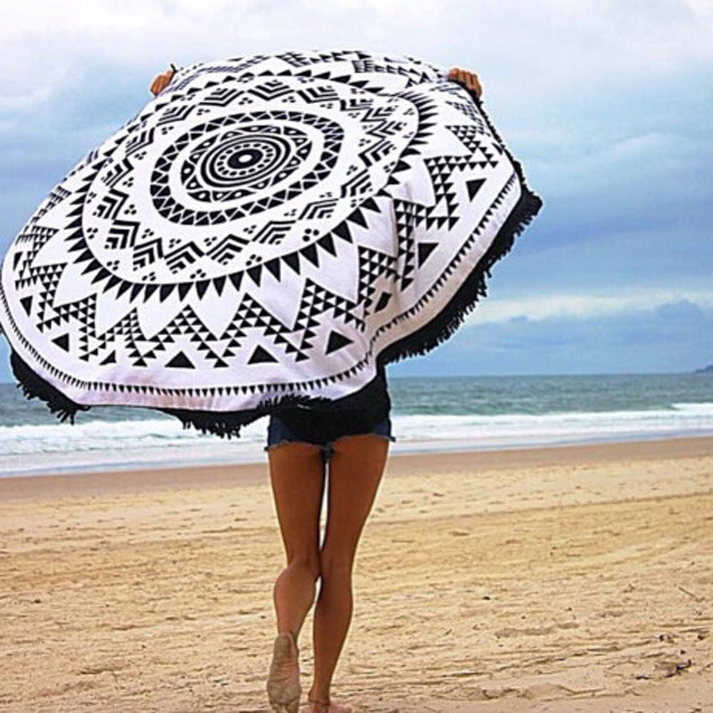 China promotional quality no sand circle custom printed mandala microfiber round summer thick beach towel terry with fringe