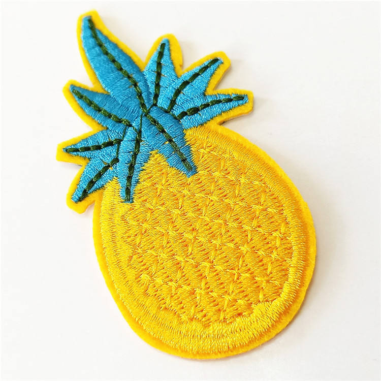 Custom pineapple embroidered patches small quantity patches for clothing bags shoes