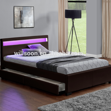 1894-1D simple modern furnitures bedroom with led lighting soft bed