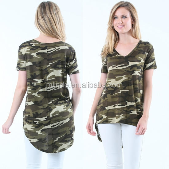 Wholesale Online Store Military Clothing Ladies Fancy Short Sleeve V Neck Camo Camouflage Print Shirts