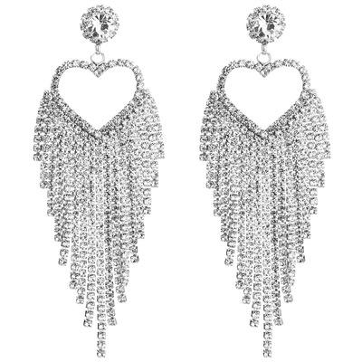 Wholesale High Quality Custom Rhinestone Zircon Tassel Chain Party Earring For Women