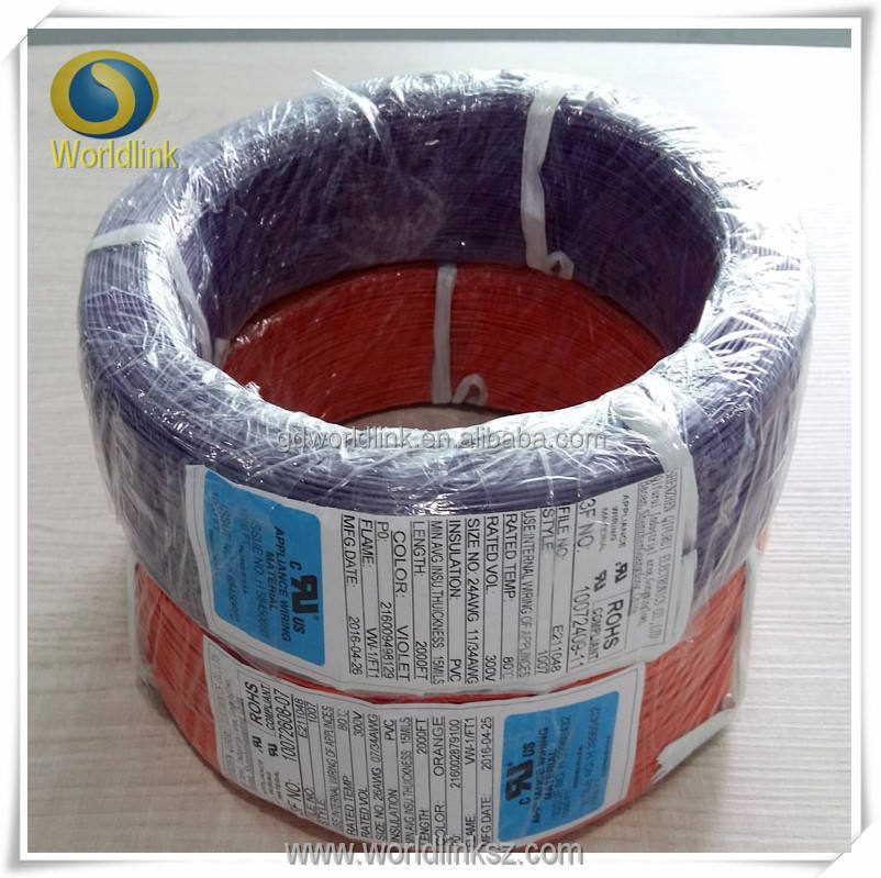 ul 1007 pvc coated copper wire 16awg/awg18/24awg pvc copper wire