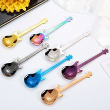 Creative Stainless Steel Colorful Guitar Shaped Tea Coffee Ice Cream Spoon