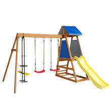 garden wooden playhouse fabric outdoor plastic kids slide and swing set
